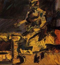 Tableaux sur toile, reproduction de Auerbach, Jym Seated In The Studio VI, 56x51cm