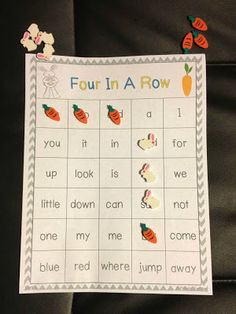Spring-Themed Four In A Row Game (1st Grade Dolch & Fry Words)