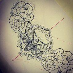 An idea for my tattoo cover up. Although I'll be replacing the moth with a butterfly.