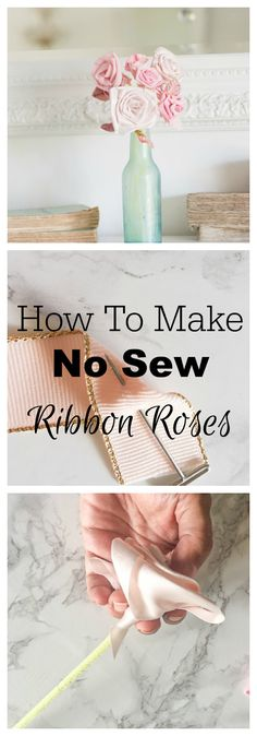 How to make no sew ribbon rose flowers and ribbon rosettes to use in bridal bouquets and flower arrangements.