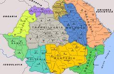 Historical regions of Romania [[MORE]]You can basically identify the borders of the 3 old medieval principalities: Wallachia (Muntenia+Oltenia+Dobrogea), Moldavia (Moldova+Bucovina+Bessarabia) and. Romania Map, Transylvania Romania, Old World Maps, Historical Maps, Albania, Costumes, Paraguay Food, Suriname Food, Roots