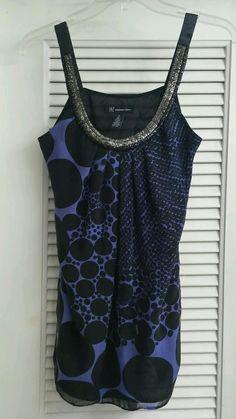INC Polka Dot Sleeveless Blouse Shirt Black Blue Pleated Rhinestone Top Silk 4 #INCInternationalConcepts #Blouse #EveningOccasion