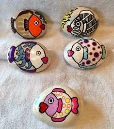 Fish painted rocks