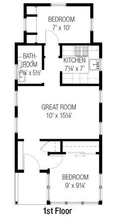 Cottage Style House Plan - 2 Beds 1 Baths 557 Sq/Ft Plan #915-16 Floor Plan - Main Floor Plan - Houseplans.com