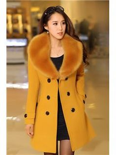 Elegant Long Sleeves Double-breasted Wool Overcoat