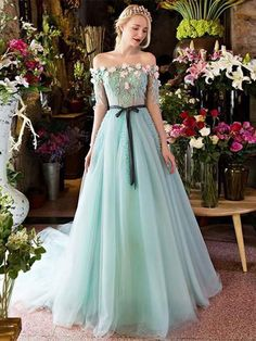 A-line Off-the-shoulder Long Prom Drsess Evening Tulle Party Dresses S - DemiDress.com