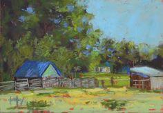 "Contemporary Artists of Colorado: Original Pastel Barn Farm Landscape Painting ""Fenced In"" by Western Colorado Artist Barbara Churchley"