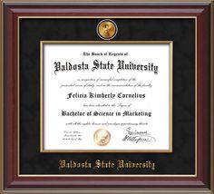 Valdosta State University Diploma Frame - Cherry Lacquer - w/24k Gold-Plated…