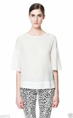 Zara BOAT NECK SILK blouse tunic top NWT SMALL CREAM OFF WHITE 3/4 SLEEVES $80 #ZARA #Blouse #Casual #silk #summer
