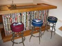 A real fan makes a bar out of hockey sticks. Hockey Husband would love this! Hockey Decor, Hockey Room, Home Bar Plans, Man Cave Home Bar, Woman Cave, Wet Bars, Man Room, Reno, Trendy Home