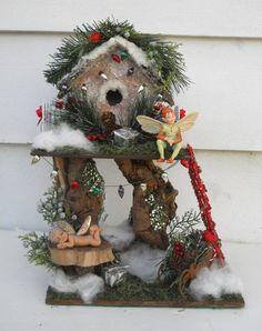Woodland Christmas Fairy House by FlowersandFrills on Etsy, $125.00