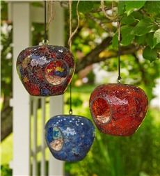 Colored Glass Mosaic Bird Feeders, Set of 3