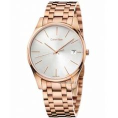 Calvin Klein Men's Time Rose Gold Strap with Silver Dial Stainless Steel Rose Gold PVD Coated Watch - Rose Gold/Silver (Men's Watch), Size One Size Fits All Cool Watches, Watches For Men, Ladies Watches, Women's Watches, Fossil, Calvin Klein Watch, Ladies Bracelet Watch, Best Watch Brands, Gold Plated Bracelets