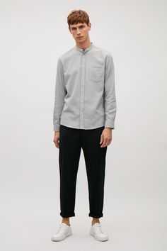 COS image 1 of Grandad collared flannel shirt in Light Grey