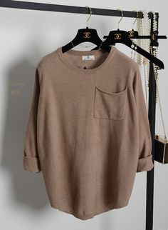 Simple Design Women Solid Color Long Sleeve Casual T-Shirt