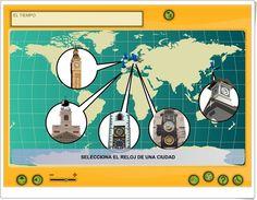 """""""El tiempo"""" (Aplicación interactiva de Matemáticas de Primaria) Map, Education, Decimal, Teaching Resources, Chalkboard Classroom, Location Map, Maps, Onderwijs, Learning"""