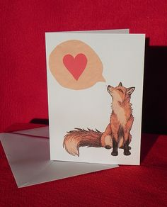 a6 fox love blank greeting card white card by 250