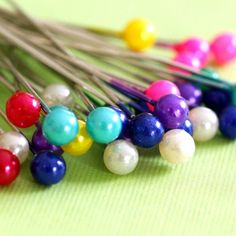 50ps 37mm Mix Color Bead Silver Finish Ball Pins D002-2
