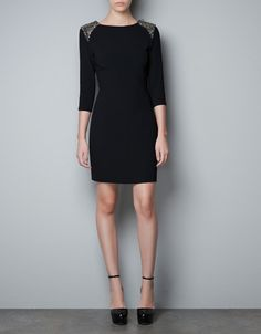 $159 FITTED DRESS WITH EMBELLISHED SHOULDERS - Dresses - Woman - ZARA