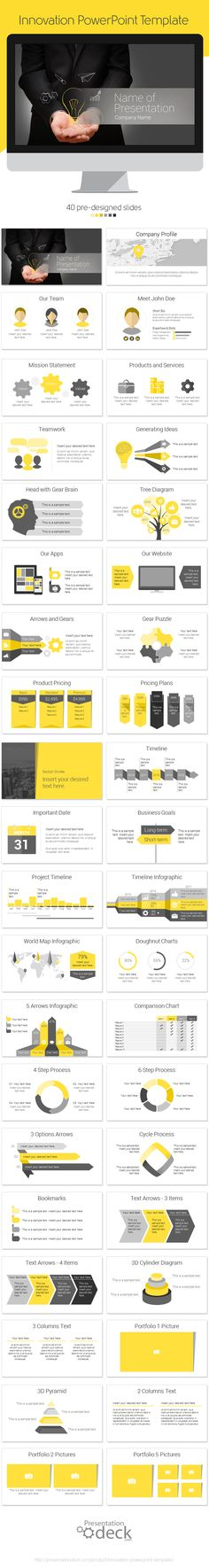 Innovation PowerPoint template containing 40 pre-designed slides. #powerpoint #powerpoint_template #presentations #innovation