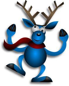 Renifer, Taniec, Niebieski, Boże Narodzenie, Noel