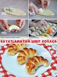 Bayatlamayan Şerit Poğaça Tarifi Turkish Recipes, Italian Recipes, Ethnic Recipes, Pastry Recipes, Baking Recipes, Turkish Sweets, Pastry Design, Braided Bread, Fish And Meat