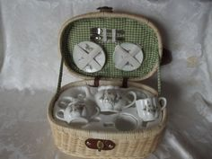 THIS TEA SET WITH BASKET IS NEW WITH OUT TAGS. IT IS A FLOWER PRINT. THE ONE FORK IS MISSING NOT SURE IF EVEN IN BASKET WHEN BOUGHT IT.THIS IS A SETTING FOR TWO.  ALSO COMES FROM A SMOKE AND PET FREE HOME. | eBay!