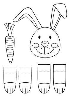 Modèle à imprimer pour fabriquer un lapin de Pâques Bunny Crafts, Easter Crafts For Kids, Diy For Kids, Easter Coloring Pages, Diy Ostern, Easter Printables, Easter Activities, Easter Celebration, Spring Crafts