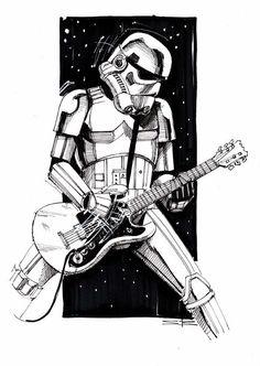 Star Wars: Stormtrooper Rocks Star Wars Shirt, Star Wars Tattoo, Star Wars Pictures, Star Wars Images, Stormtrooper, Star Wars Painting, Rock Band Posters, Star Wars Drawings, Ange Demon