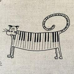 2 Geschirrtücher Küchenhandtücher Handtücher  Musical cat  Leinen (50x70cm)