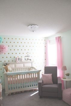Mint and Pink Nursery with Gold Dot Accent Wall - so glam!
