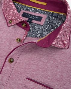 Zebra printed collar polo shirt - Fuchsia | Tops & T-shirts | Ted Baker UK