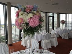 Tischdekoration rosa Hortensie