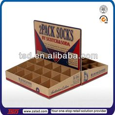 TSD-C493 Custom socks store promotion countertop perforated display box,pdq display box,template cardboard display box