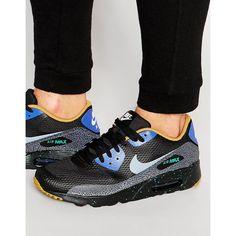 Men's Nike Air Max 90 Leather Shoes BlackWhite [1865