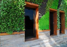 Cor Ten Steel, plants and wood at Hotel Seven4one - Living facade
