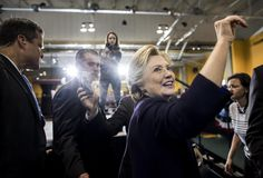 OCT 10. Clinton sees new opportunities to woo Republicans in Trump's troubles - The Washington Post caption: The day after the second presidential debate, Democratic nominee Hillary Clinton speaks to and meets voters at Wayne State University in Detroit. (Melina Mara/The Washington Post)