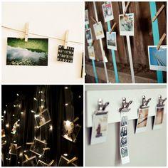 крепеж фотографий к стене с помощью прищепок