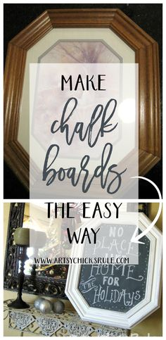 I can find these old pictures all day long at the thrift store!! What a simple way to make a chalkboard!! Minwax Polycrylic to seal and add shine