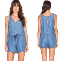 SaleSplendid V Neck chambray drawstring jumper Casual and cool chambray romper.  Super soft material items so comfortable yet so chic.  Celebrities favorite.  Will fit XS to a size Small.  In pretty much brand new condition.  Just took off tags.  Still selling in stores for full price and most sizes are sold out. Spendid Pants Jumpsuits & Rompers