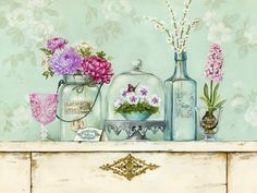 Art Print: Pretty Vignette Wall Art by Stefania Ferri by Stefania Ferri : Decoupage Vintage, Decoupage Paper, Art Floral, Vintage Pictures, Vintage Images, Art Carte, Bead Embroidery Patterns, Flower Embroidery, Creation Photo