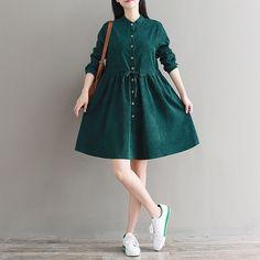 Japanese Sweet Corduroy Long Sleeve Vintage Lolita Elastic Dress Mori Girl