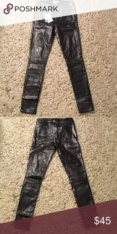 Paige silver coated black denim. Paige brand silver coated black denim skinnies.  Brand new with tags.  Fun for Vegas!  Or a night out dancing paired with a flirty top and heels. Paige Jeans Jeans Skinny