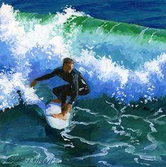 Surfin' Huntington Beach Pier, by Alice Leggett. 6x6 Oil on panel.