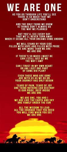 We Are One lyrics from The Lion King II Simba ' Pride-->This is one of the reasons why I love the sequel, great songs.<<yea I love the lion king movies😊 Disney Pixar, Simba Disney, Disney Songs, Disney Lion King, Disney Quotes, Disney Animation, Disney Facts, Disney Characters, Kiara Lion King