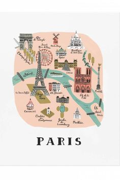 """18 x 24"""" Illustrated Art Print created from an original gouache painting by Anna Bond.   Paris 18x24 Print by Rifle Paper Co. . Home & Gifts - Home Decor - Wall Art Austin, Texas"""