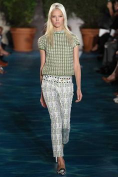 Successful combination of many patterns and materials. love the green crochet top!!! Tory Burch Collection