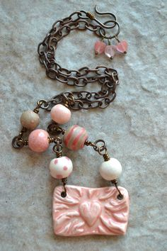 True Love Ceramic Heart Focal Necklace by TheJunquerie on Etsy, $65.00