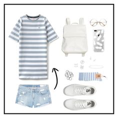 """White Blue"" by aibibby on Polyvore featuring Lacoste L!VE, Vans, Monki, Messika, Astrid & Miyu, Anne Sisteron, Sterling Essentials and rag & bone/JEAN"