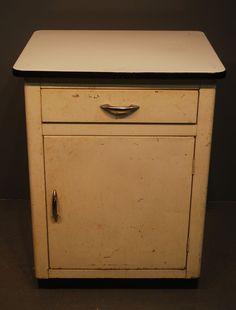 Attrayant Vintage+Industrial+Enamel+Porcelain+Top+1+Drawer+1+